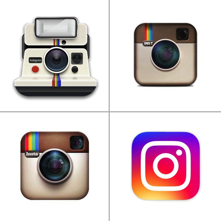 Historical comparison of Instagram logos