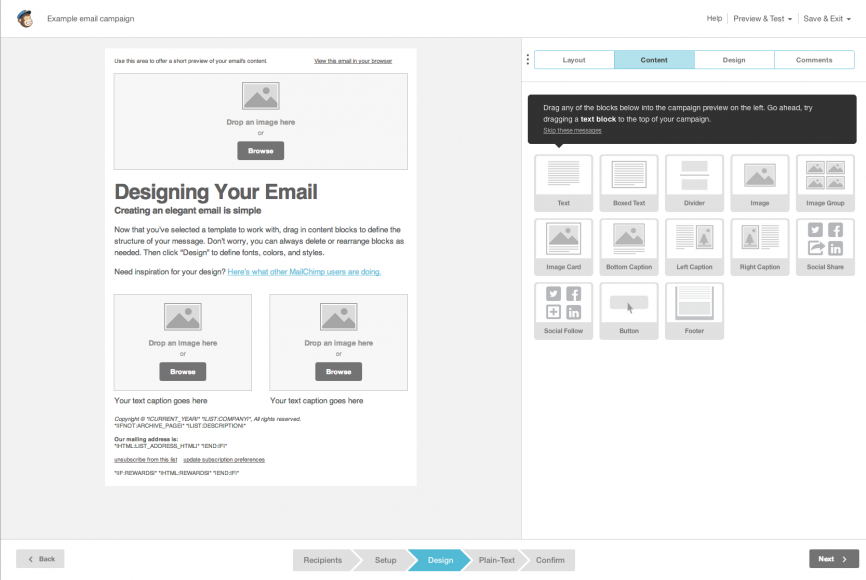 Designing an email with MailChimp