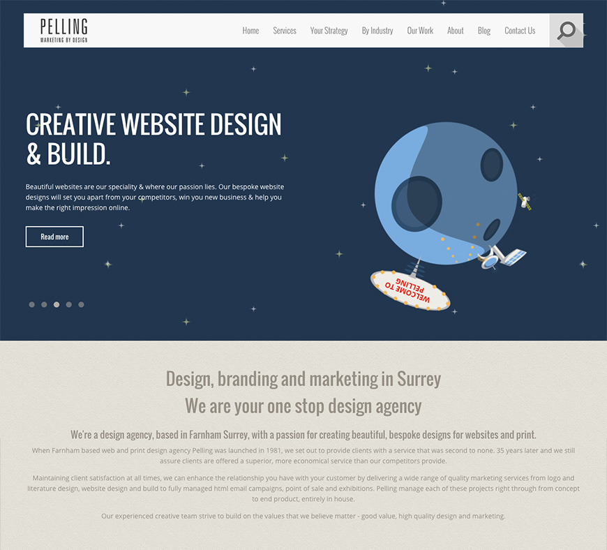 Old homepage design